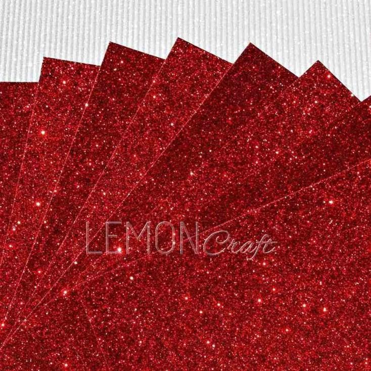 Karton brokatowy - ciemnoczerwony