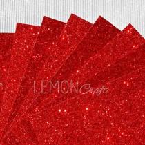Karton brokatowy - czerwony