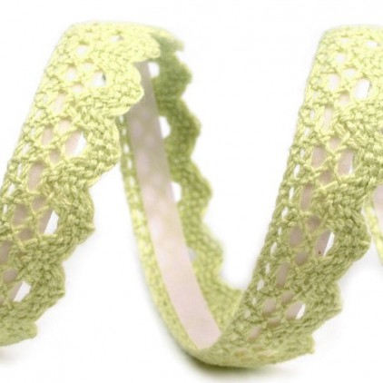 Cotton self-adhesive lace - light green