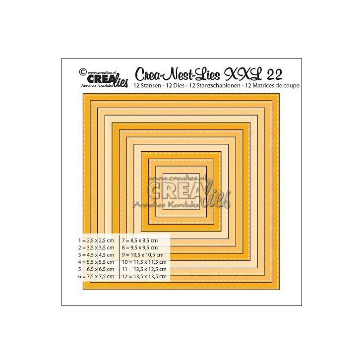 Crea-Nest-Lies - Wykrojniki XXL - Pojedynczo przeszywane kwadraty