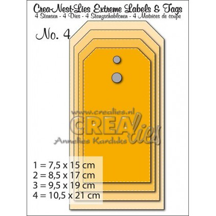 Crea-Nest-Lies Extreme Labels & Tags no. 4 Straight with stitch