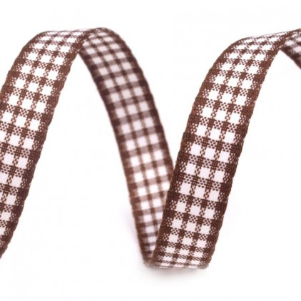 Checkered ribbon - 1 meter - brown
