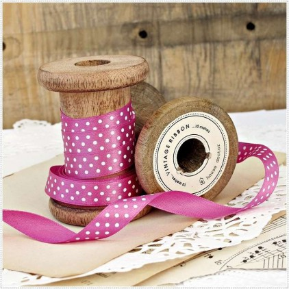 Satin ribbon - 1 meter - pink with white dots