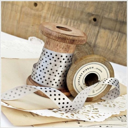 Satin ribbon - 1 meter - gray with black polka dots