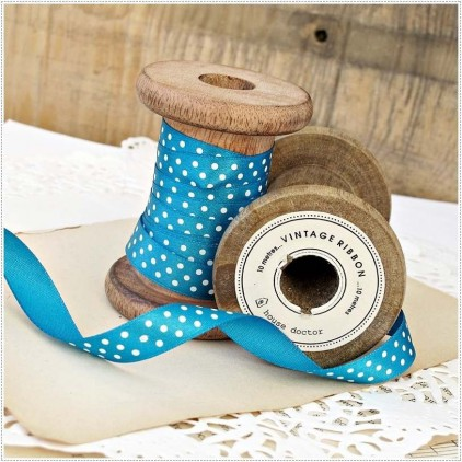 Satin ribbon - 1 meter - turquoise with white dots