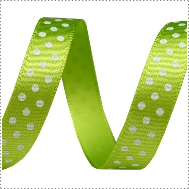 Satin ribbon - 1 meter - light green with white dots