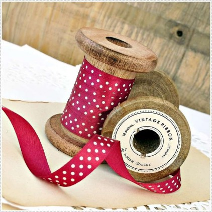 Satin ribbon - 1 meter - maroon with white polka dots