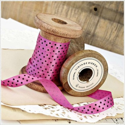 Satin ribbon - 1 meter - pink with black dots
