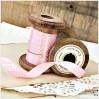 Satin ribbon - 1 meter - pink with white dots