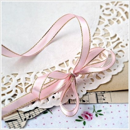 Satin ribbon - 1 meter - pink with gold thread