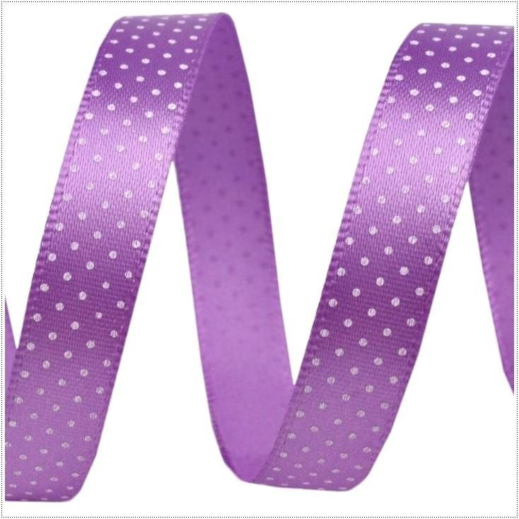 Wstążka satynowa - 1 metr - fioletowa w drobne białe groszki