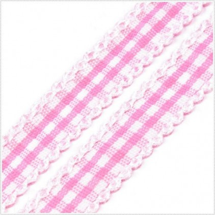 Checkered ribbon with decorative edge - 1 meter - baby pink