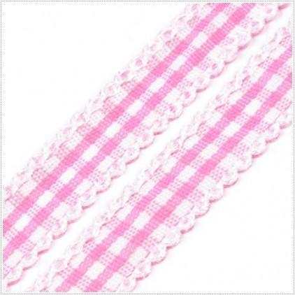 Wstążka w kratkę z ozdobnym brzegiem - 1metr - różowa