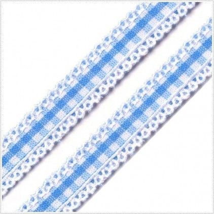 Checkered ribbon with decorative edges - 1 meter - baby blue