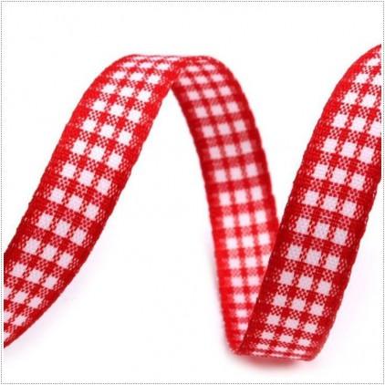 Wstążka w drobną kratkę - 1 metr - czerwona