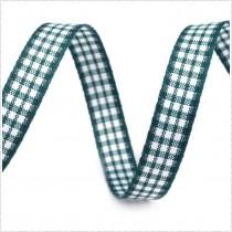 Checkered ribbon - 1 meter - dark green