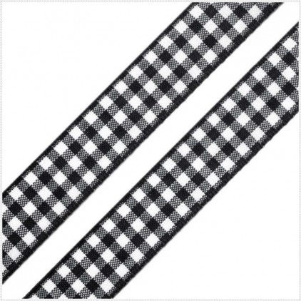 Checkered ribbon - 1 meter - black