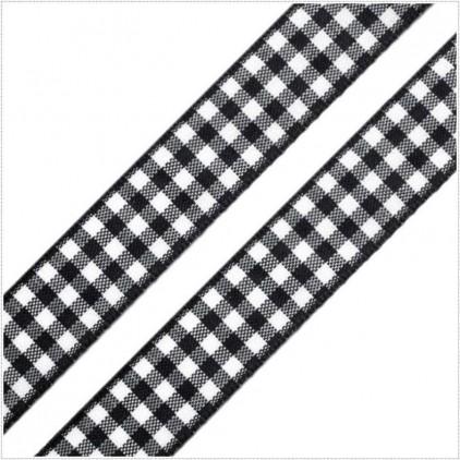 Wstążka w kratkę - 1 metr - czarna