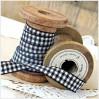 Checkered ribbon - 1 meter - black