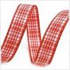 Wstążka w drobną kratkę - 1 metr - jasnoczerwona