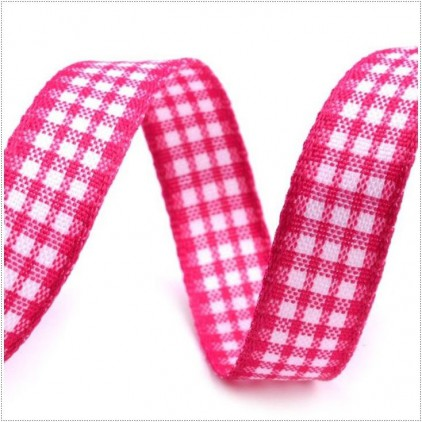 Checkered ribbon - 1 meter - dark pink