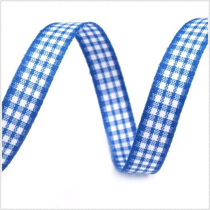 Wstążka w drobną kratkę - 1 metr - niebieska