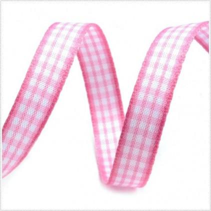 Wstążka w drobną kratkę - 1 metr - różowa