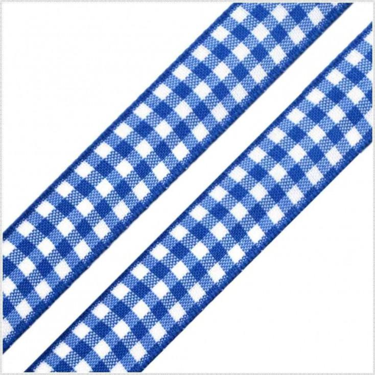 Wstążka w kratkę - 1 metr - niebieska