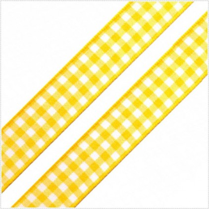 Checkered ribbon - 1 meter - yellow