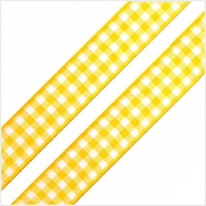 Wstążka w kratkę - 1 metr - żółta
