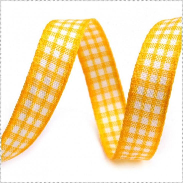 Checkered ribbon - 1 meter - yellow