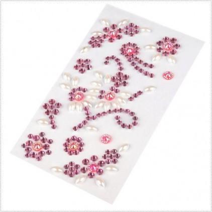 Selfadhesive gems - Dark pink flourishes