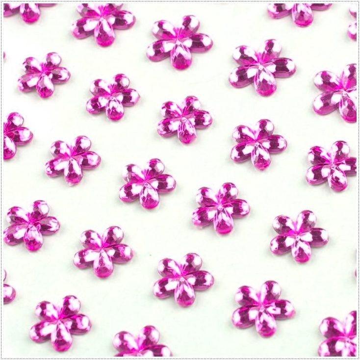 Samoprzylepne ozdoby - Kwiatuszki - ciemnoróżowe