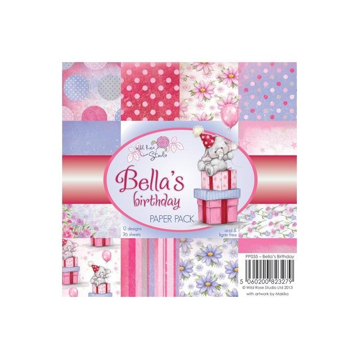Wild Rose Studio - Mały bloczek papierów do scrapbookingu - Bella's birthday