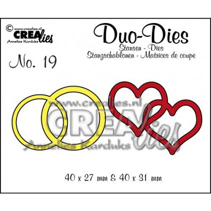 Crealies - Duo Dies no. 19 - Double rings & hearts
