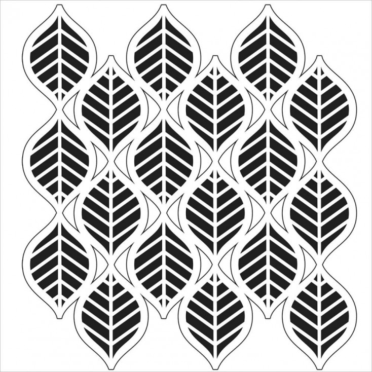 Crafter's Workshop - Mask, stencil, template - 6x6 - Mini Art Deco Leaves