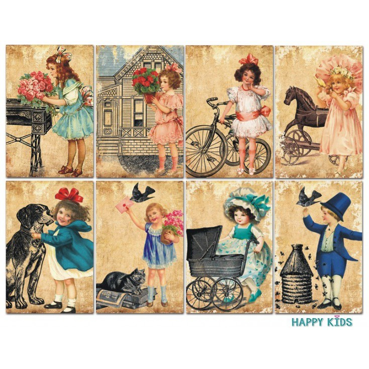 Decorer - Set of mini scrapbooking papers - Happy Kids