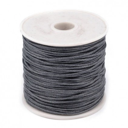 Waxed twine - dark gray - Ø1mm - one spool