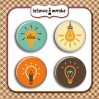 Ozdoby samoprzylepne, buttony - Żarówki