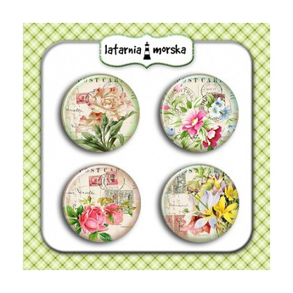 Selfadhesive buttons/badge - Vintage Flowers 2