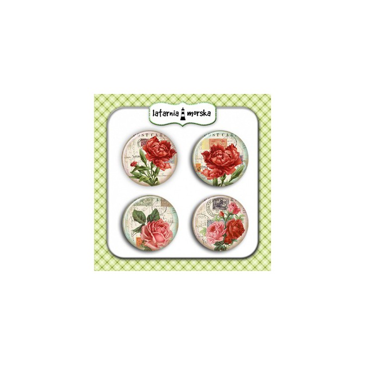 Selfadhesive buttons/badge - Vintage Flowers 3