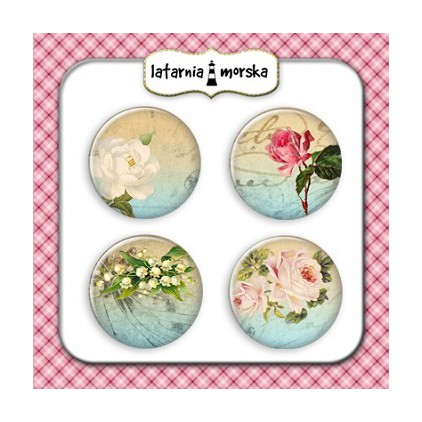 Selfadhesive buttons/badge - Vintage Flowers 1