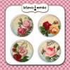 Ozdoby samoprzylepne, buttony - Róże Vintage 2