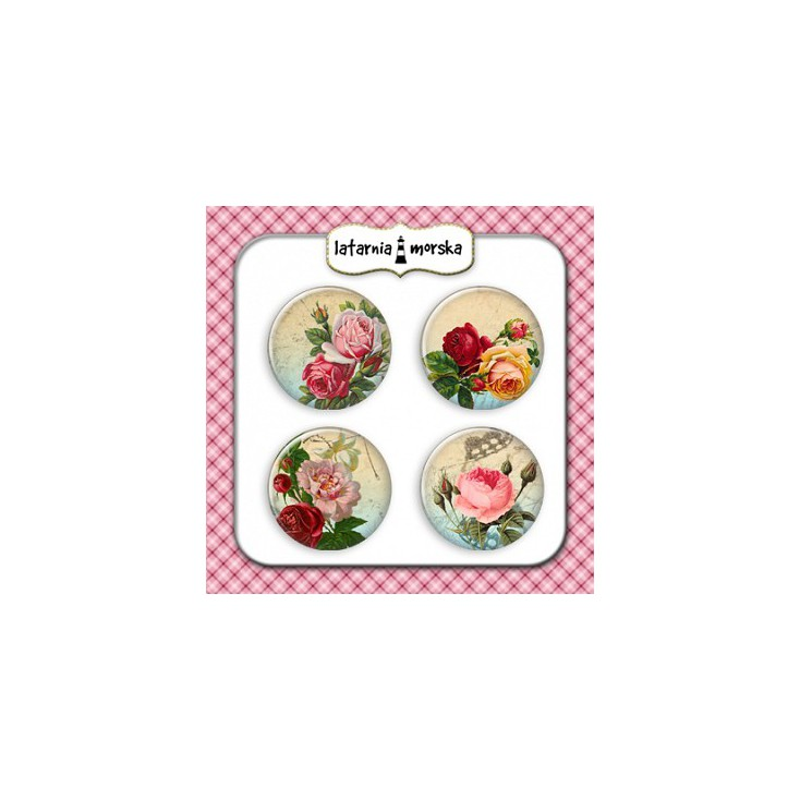 Selfadhesive buttons/badge - Vintage Roses 2