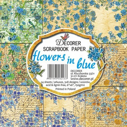 Decorer - Pad of scrapbooking papers - Flowers in blue