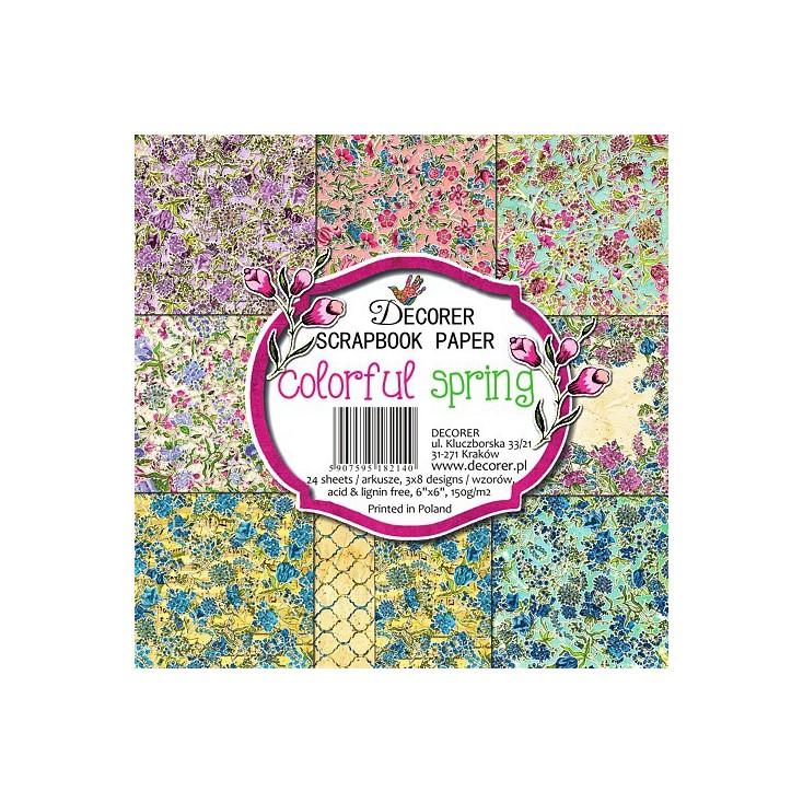 Decorer - Mały bloczek papierów do scrapbookingu - Kolorowa wiosna