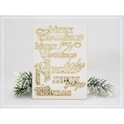 SnipArt - Tekturka - Zestaw napisów Merry Christmas