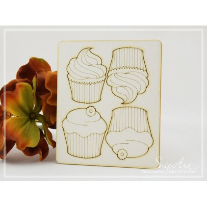 SnipArt - Laser cut set - Cupcakes, large, 4 pcs