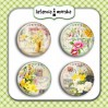 Selfadhesive buttons/badge - Vintage Flowers 4