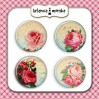 Selfadhesive buttons/badge - Vintage Roses 1